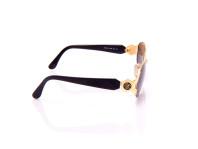 occhiale da sole bozza nero e oro lenti tonde