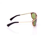 occhiale da sole metaflex unisex lenti verdi aste fine nere e oro