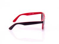 occhiale da sole nero e rosso uomo lenti viola scuro